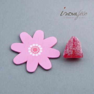 Fleur rose en bois /24 - Label Fête