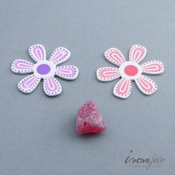 Fleur en bois blanche motif parme  /24 - Label Fête