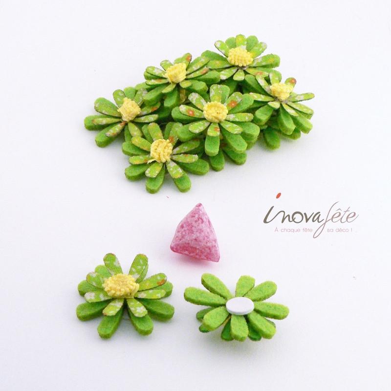 Fleur textile verte à coller /12 - Label Fête
