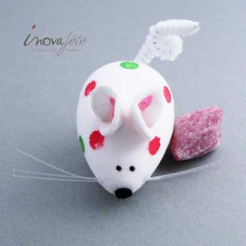 Souris blanche à pois /6 - Label Fête