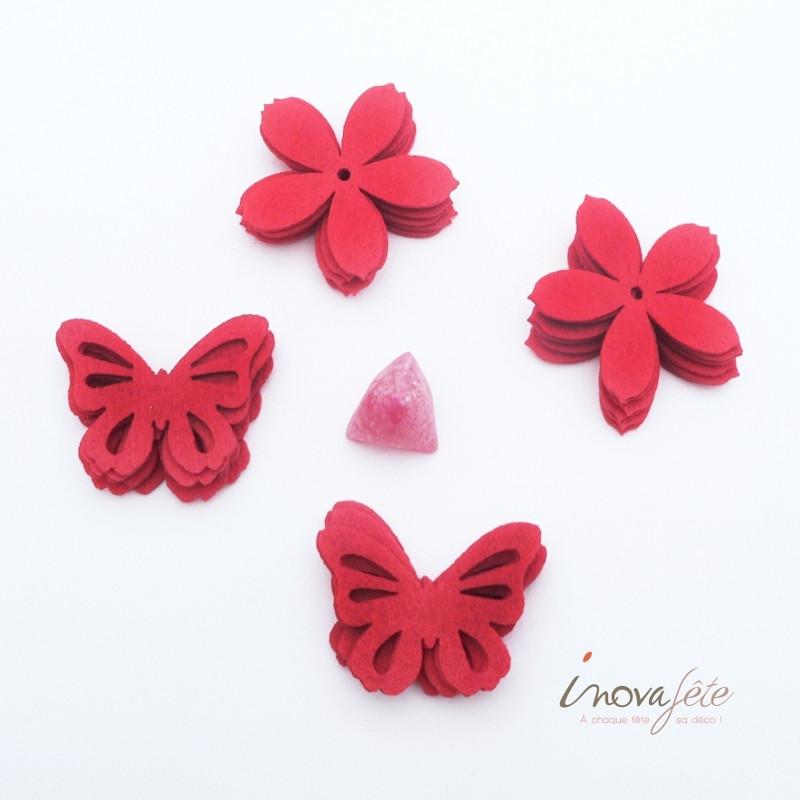 Fleur et papillon en feutre rouge /16 - Label Fête