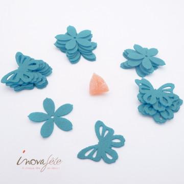 Fleur et papillon en feutre turquoise /16 - Label Fête