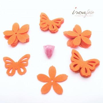 Fleur et papillon en feutre orange /16 - Label Fête