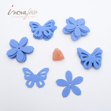 Fleur et papillon en feutre bleu /16 - Label Fête