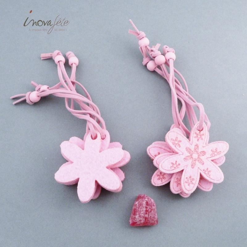 Rond de serviette fleur rose /8- Label Fête