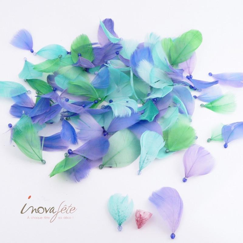 Fine plume bleue et verte avec perle /92 - Label Fête