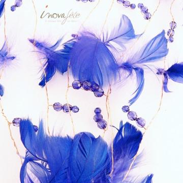Guirlande de plumes bleues et perles à facettes - Label Fête