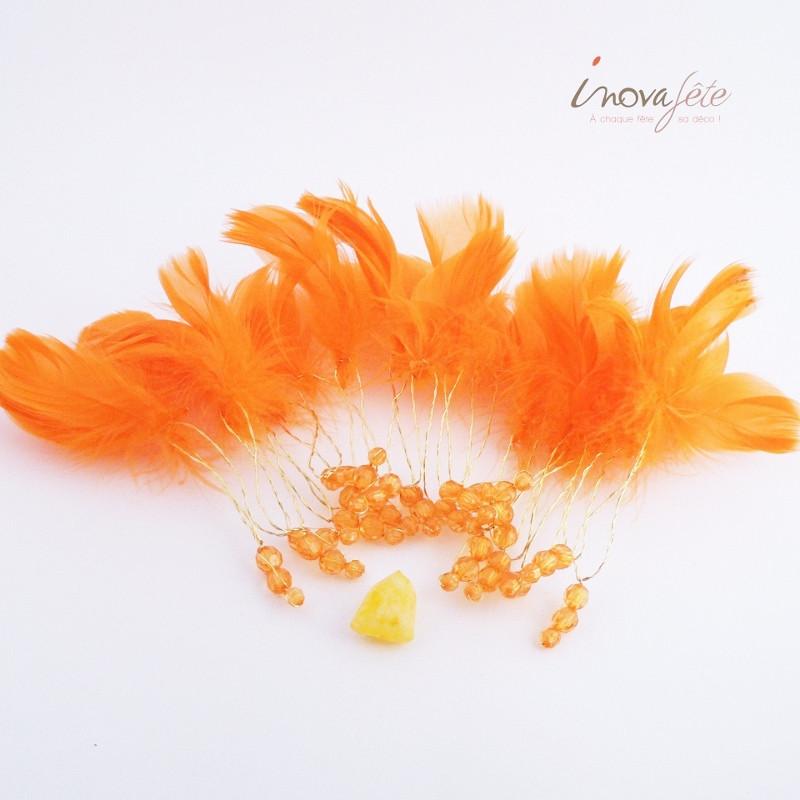 Guirlande de plumes oranges avec perles - Label Fête