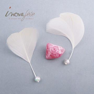 Fine plume ivoire à perle irisée /92 - Label Fête