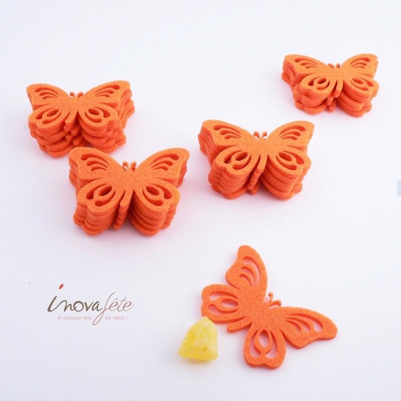 Papillon orange /24 - Label Fête