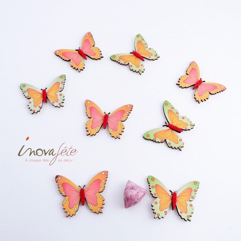 Papillon vert orange /16 - Label Fête