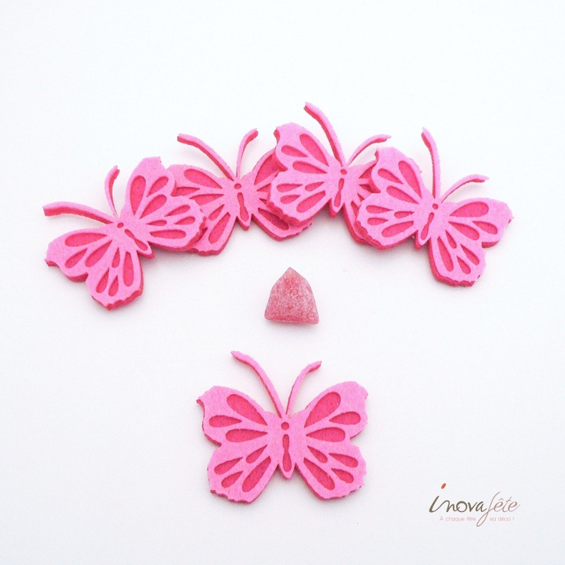 Papillon rose et fuchsia autocollant /18 - Label Fête