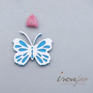 Papillon turquoise et blanc autocollant /18 - Label Fête