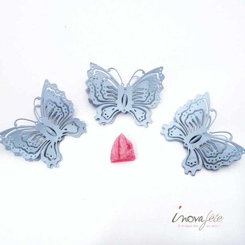 Pince papillon métal bleu /3 - Label Fête