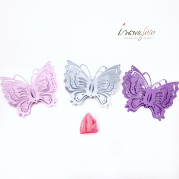 Pince papillon métal rose /3 - Label Fête
