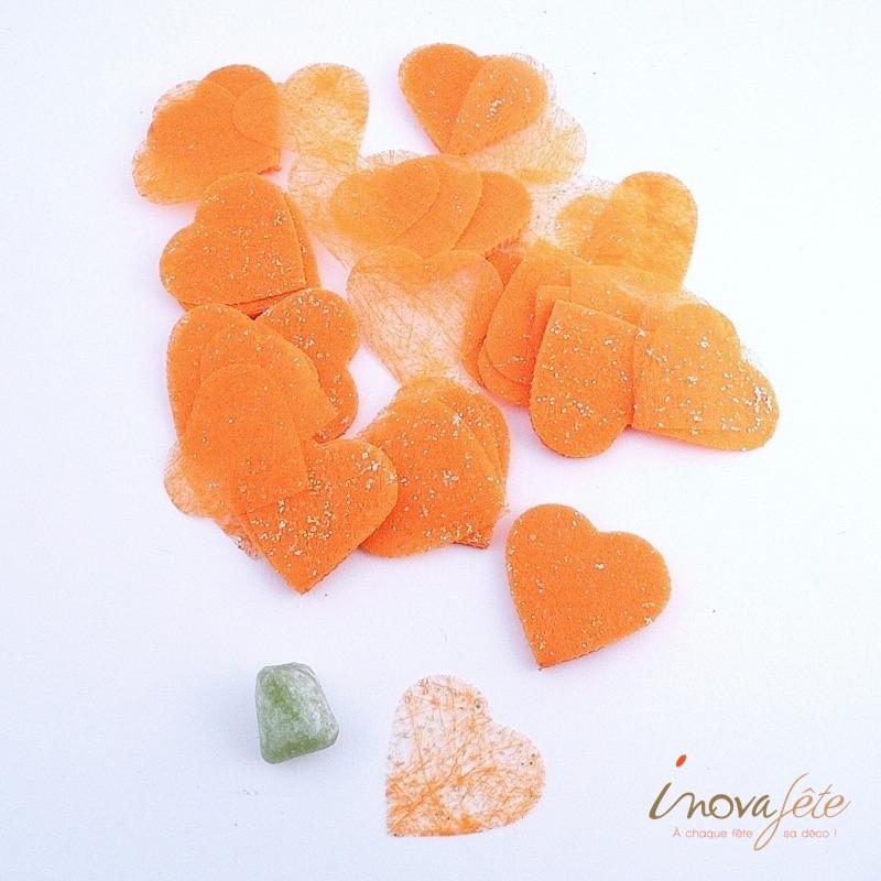 Cœur orange pailleté polytulle /240 - Label Fête
