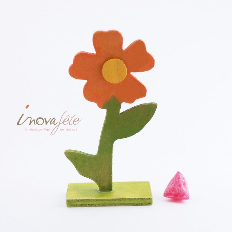 Fleur bois sur socle - Label Fête