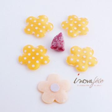 Fleur tissus orange à pois blancs /32 - Label Fête