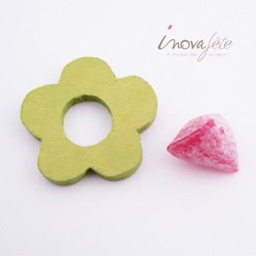 Fleur verte en bois /10 - Label fête