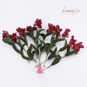 Bouquet Fleurs sur tige bordeaux /10 - Label Fête