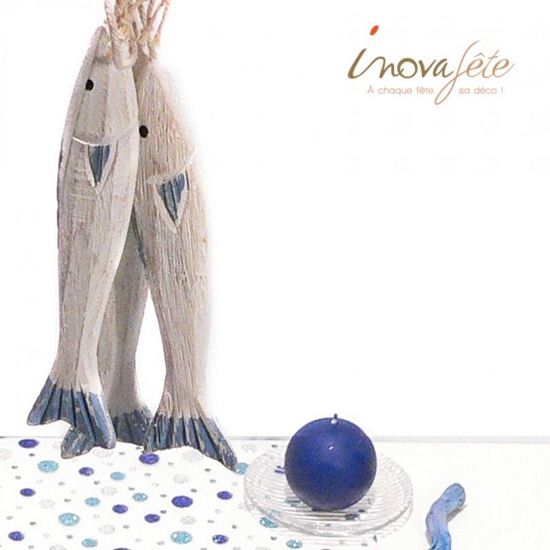 Poisson en bois bleu /3 - Label Fête