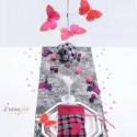 Papillon rose et fuchsia autocollant /18