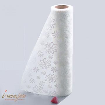 Chemin de table floral ivoire pailleté 0.30x10m - Label Fête