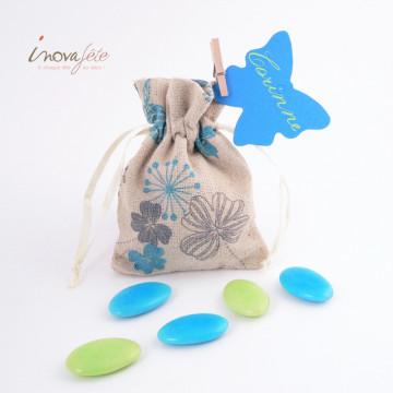 Sac toile de lin décor bleu /12 - Label Fête