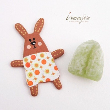 Lapin blanc pois orange /12 - Label Fête
