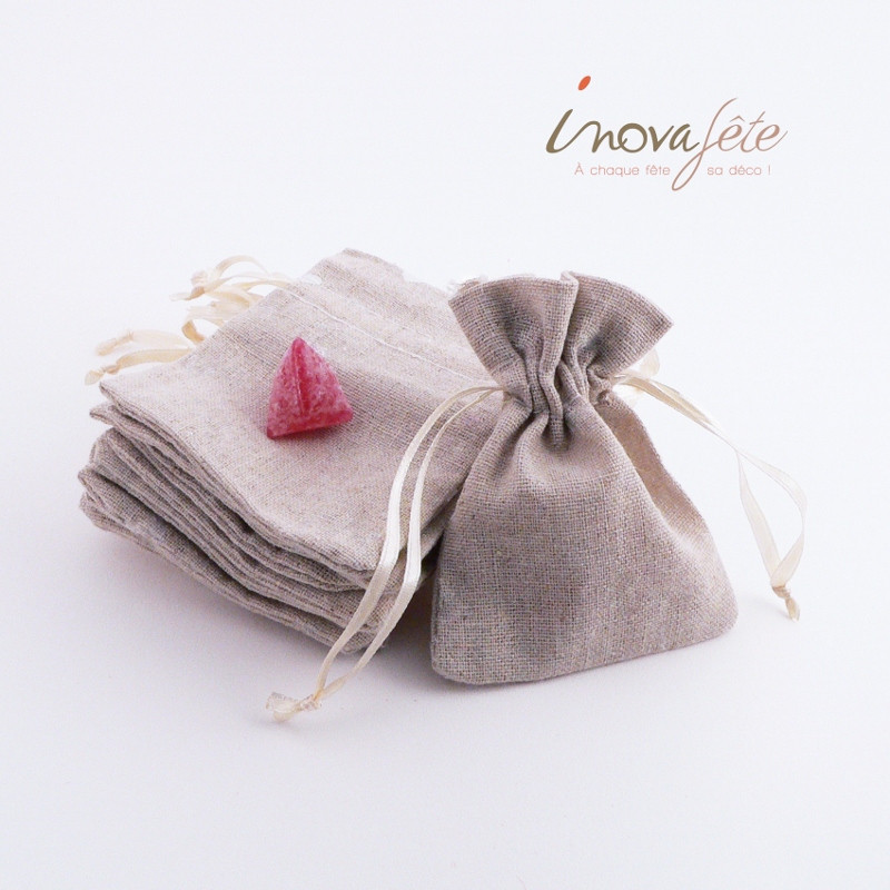 Sac toile de lin coeur blanc /12 - Label Fête