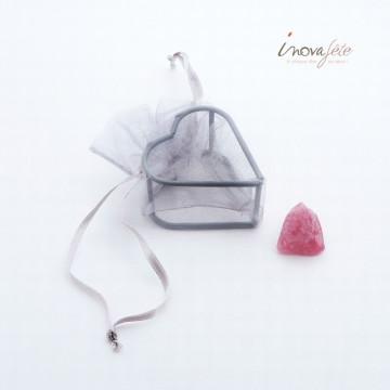 Cœur organza et métal gris /4 - Label Fête