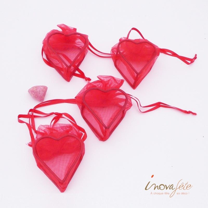 Cœur organza et métal rouge /4 - Label Fête