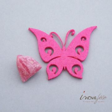 Papillon rose fuchsia découpé /24 - Label Fête