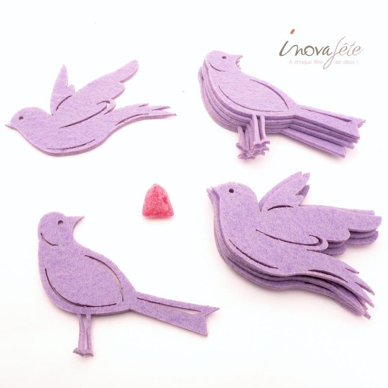 Oiseaux en feutre parme /12 - Label Fête