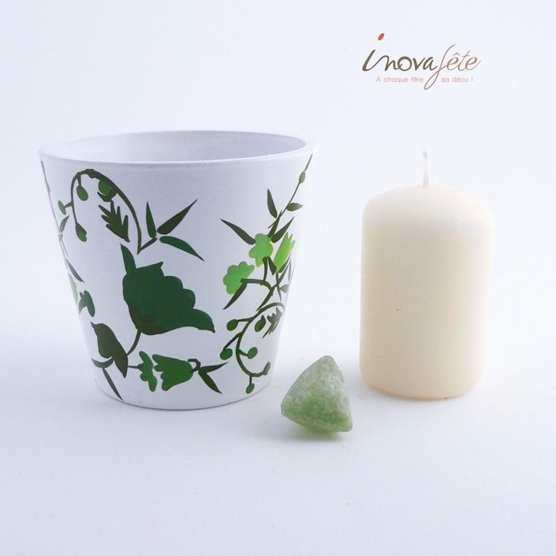 Pot blanc décor vert - Label Fête
