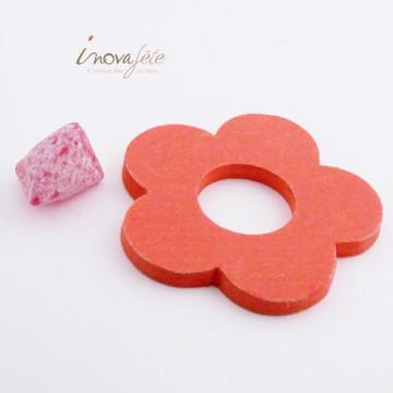 Fleur orange en bois /6 - Label Fête