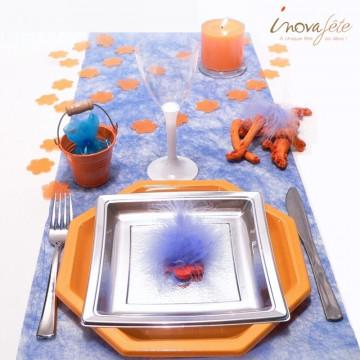 Petit seau dragées métal orange - Label Fête