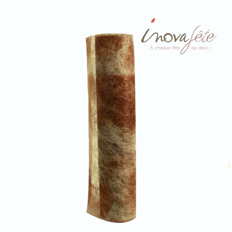 Chemin de table effet parchemin marbré chocolat  0.375x25m - Label Fête