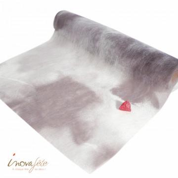 Chemin de table marbré gris 0.375x25m - Label Fête