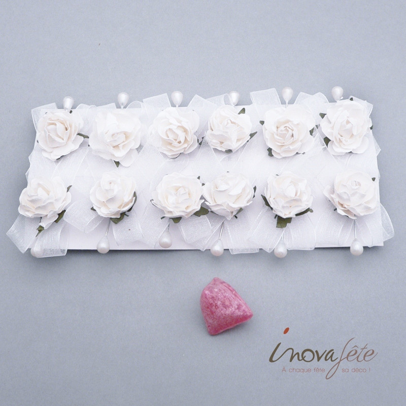 Epingle rose blanche /12 - Label Fête