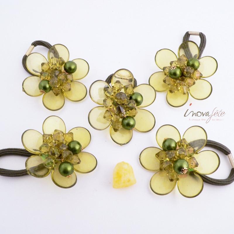 Rond de serviette fleur perles et cristaux /5 - Label Fête