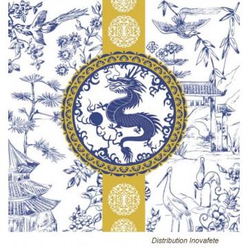 Serviettes papier décor asiatique 33x33 cm - Label Fête