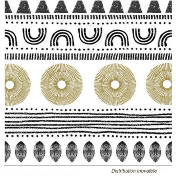 Serviettes papier décor noir et or 33x33 cm - Label Fête