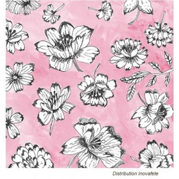 Serviettes papier décor rose et gris 33x33 cm - Label Fête