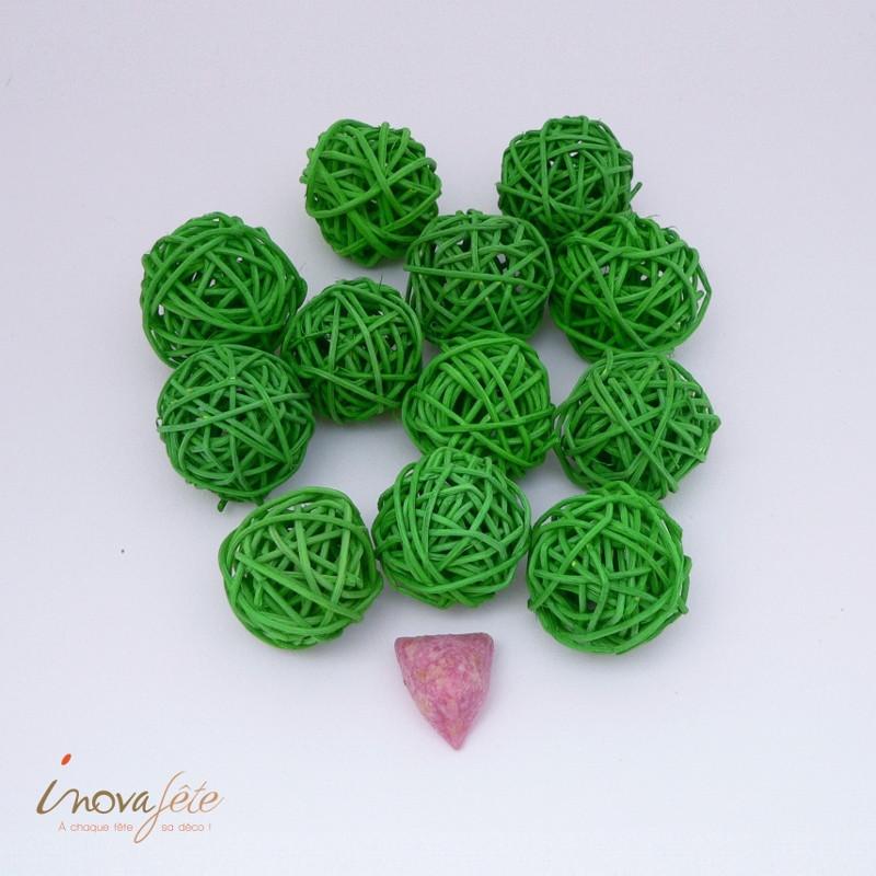 Boule rotin verte /12 - Label Fête