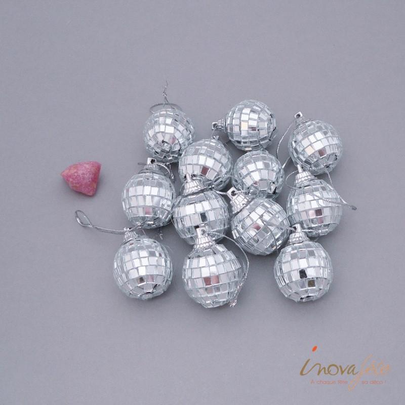 Mini boule disco argent /12 - Label Fête