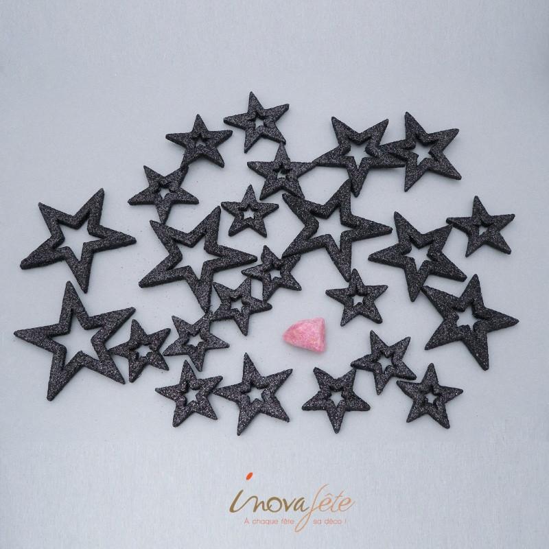 Étoiles pailletées noir /24 - Label Fête