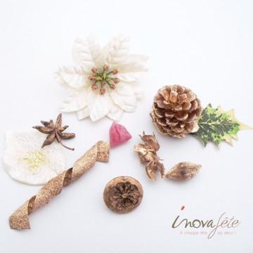 Pot pourri or pailleté décor naturel - Label Fête