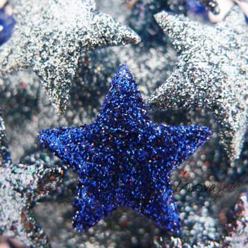Boules de Noël étoiles pailletées bleues /3 - Label Fête