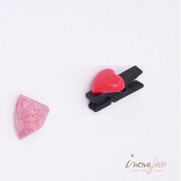 Petite pince noire cœur rouge /8 - Label Fête